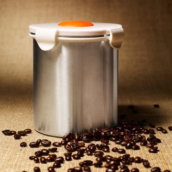 "BeanSafe ""The Coffee Storage Solution"" Stainless Steel w/ White Lid"