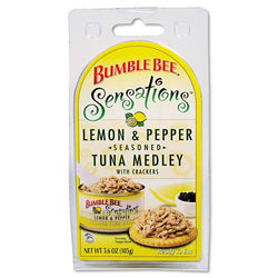 Bumble Bee Sensations Lemon Pepper Seasoned Tuna Medley with Crackers 12 3.6oz Boxes