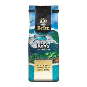 Cafe Britt Poas Volcanic Earth Ground Coffee 12oz Bag