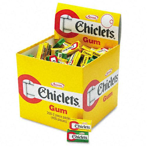 Chiclets Peppermint and Spearmint Chewing Gum 2 Pieces per Pack 200 Pack Display Box