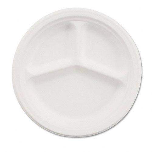 Chinet 10 1-4 Inch White Paper 3 Compartment Plates 500ct