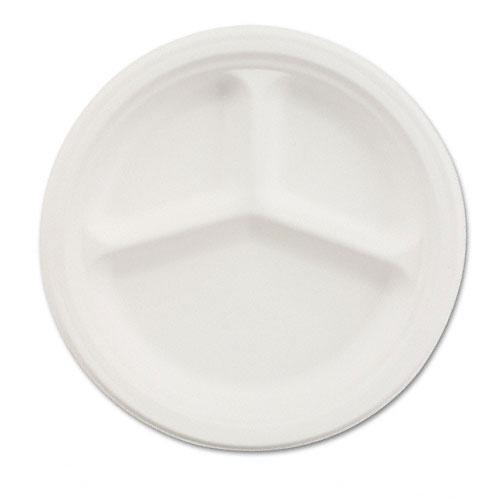 Chinet 9 1-4 Inch White Paper 3 Compartment Plates 500ct