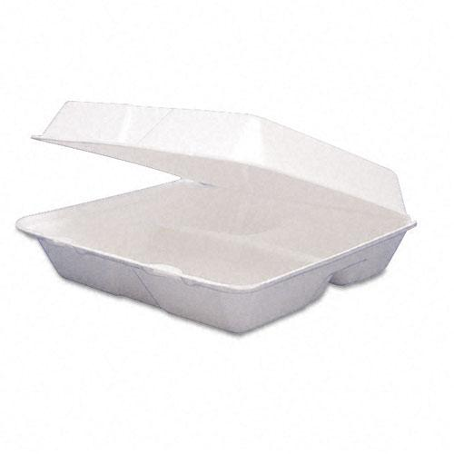 Dart 3 Compartment Styrofoam Hinged Carryout Food Containers 8 3-8 x 7 7-8 x 3 1-4 Inches 200ct