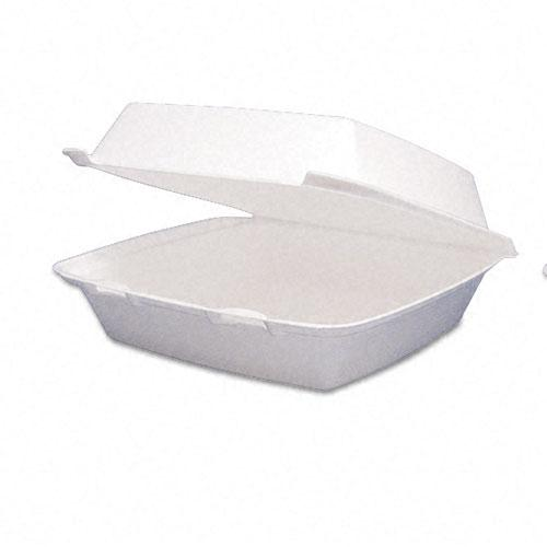Dart Single Compartment Styrofoam Hinged Carryout Food Containers 9 1-2 x 9 1-4 x3 Inches 200ct