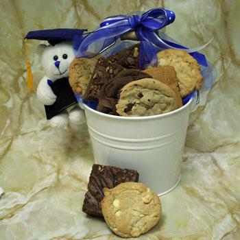 David's Cookies Graduation Bucket and Bear