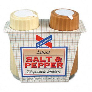 Dixie Crystals Iodized Salt & Pepper Disposable Shakers Two-Shaker Set