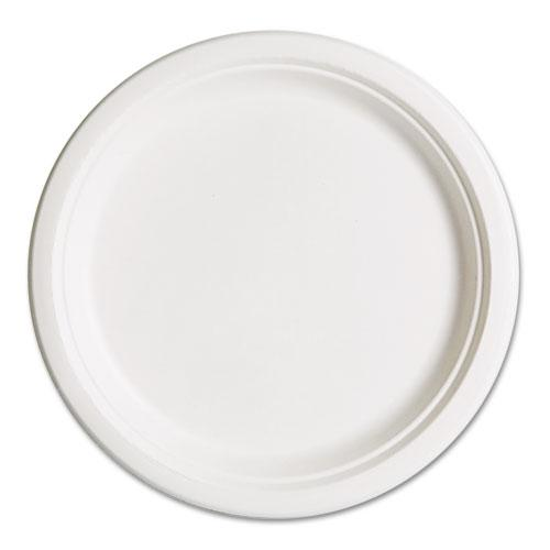 Eco-Products 10 Inch White Compostable Bagasse Plates 500ct