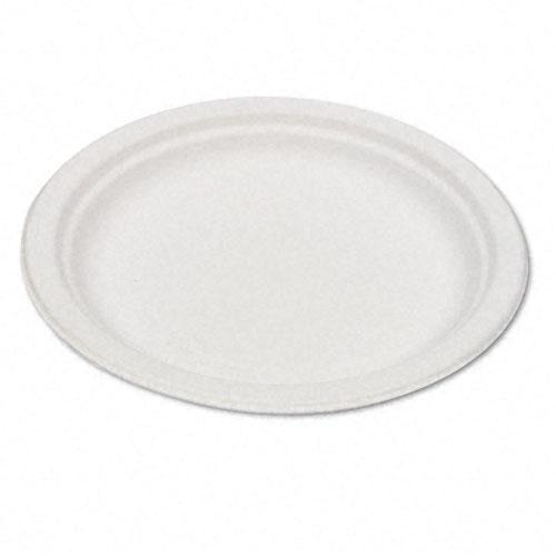 Eco-Products 6 Inch White Compostable Bagasse Plates 1000ct