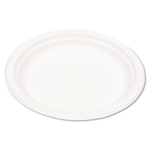 Eco-Products 9 Inch White Compostable Bagasse Plates 500ct