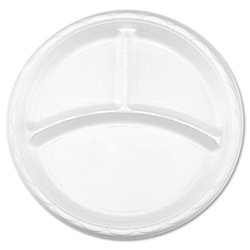 Enviroware 10 Inch 3-Compartment Round Plastic Plates 500ct