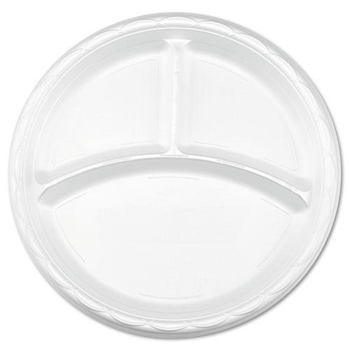 Enviroware 9 Inch 3-Compartment Round Plastic Plates 500ct | Plate ...