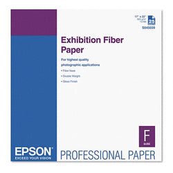 Epson White 17 x 22 Exhibition Fiber Paper with Micro Porous Smooth Gloss 25ct
