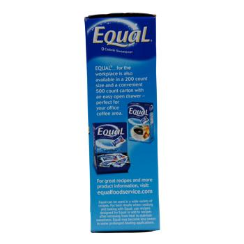 Equal Single-Serve NutraSweet Packets 100ct Side Box