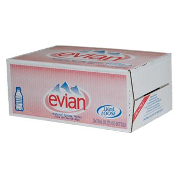 Evian Spring Water 24 11.2oz Bottles Angled Box
