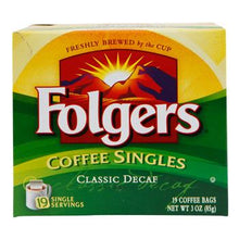 Folgers Coffee Singles Decaffeinated 19ct Box 3.0oz Bags