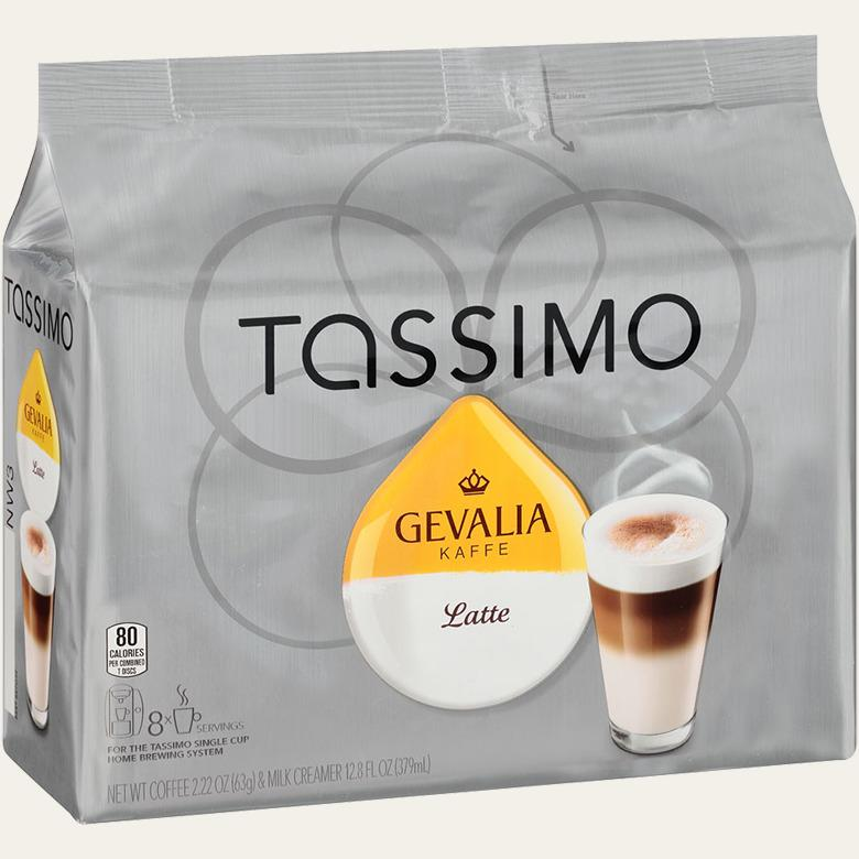 Gevalia Latte Tassimo T-Discs Coffee 8 Espresso and 8 Special Milk