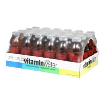 Glaceau Vitamin Water Defense Raspberry Apple 24 20oz Bottles Angled Case