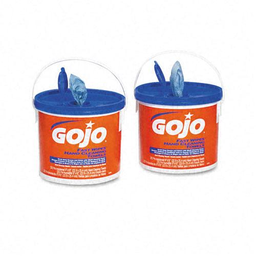 Gojo 9x10 Inch Fast Wipes Cloth Hand Cleaning Towels 2 225ct Buckets