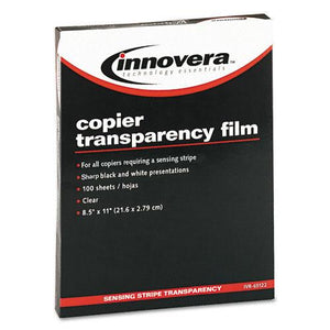 Innovera Clear Transparency Film Letter Size with Removable Sensing Stripe for Copiers 100ct Box
