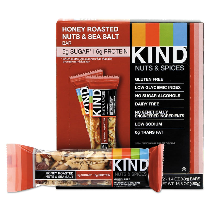 KIND Nuts and Spices Bar Honey Roasted Nuts and Sea Salt 12ct