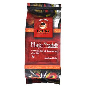 Lacas Ethiopian Yirgacheffe Ground Coffee 12oz Bag