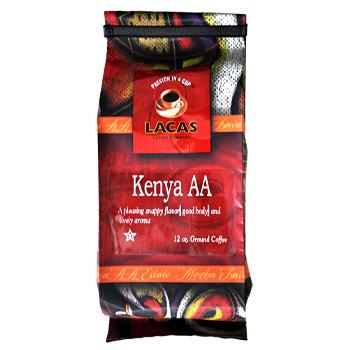 Lacas Kenya AA Estate Ground Coffee 12oz Bag