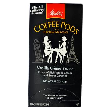 Melitta Coffee Vanilla Creme Brulee Coffee Pods 18ct Back