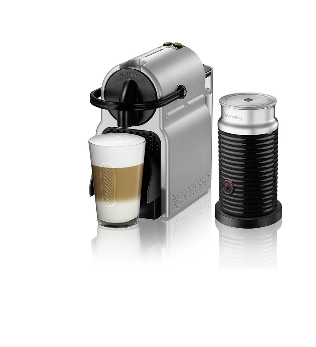 nespresso inissia espresso machine by de 39 longhi with aeroccino silve coffee for less. Black Bedroom Furniture Sets. Home Design Ideas