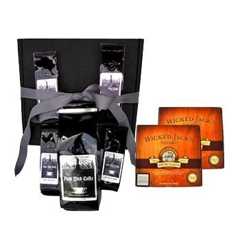 New York Coffee Manhattan Coffee Beans Gift Box w/ TWO FREE Rum Cakes