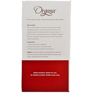 Organa Berry White Tea Pods 18ct Box right side