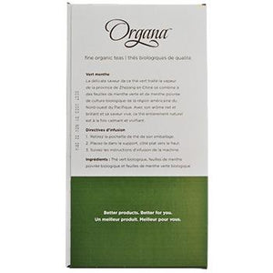Organa Mint Green Tea Pods 18ct Box left side