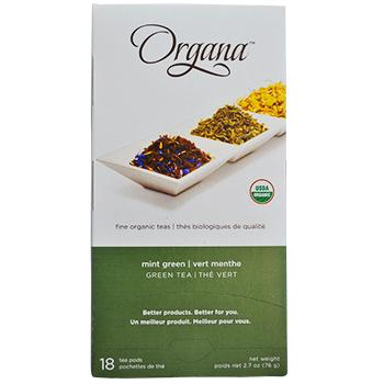 Organa Mint Green Tea Pods 18ct Box