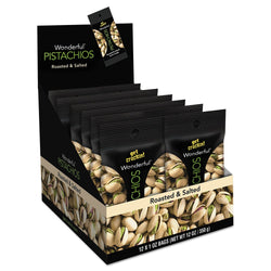 Paramount Farms Wonderful Pistachios, Roasted & Salted, 1 oz Pack, 12/Box