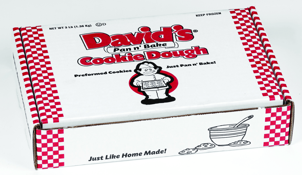 David's Cookies Pre-Formed Frozen Cookie Dough Choc Chunk & Dbl choc w/ PB Chips 96ct box