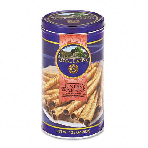 Royal Dansk Luxury Chocolate Filled Wafer Cookies 12.3oz Tin