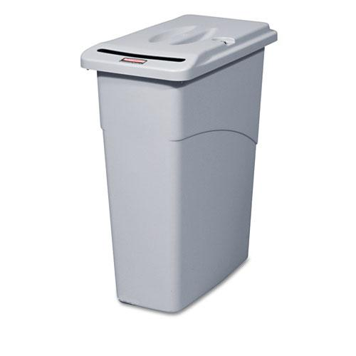 Rubbermaid 23 Gallon Light Gray Slim Jim Confidential Document Receptacle with Lid
