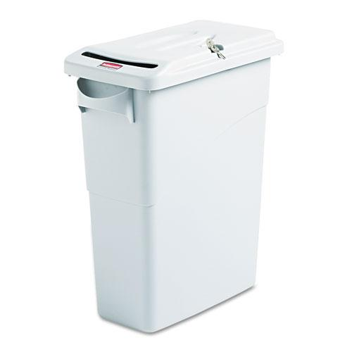 Rubbermaid 15.875 Gallon Light Gray Slim Jim Confidential Document Receptacle with Lid
