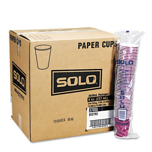 Solo 12oz Bistro Design Paper Hot Drink Cups 1000ct Case