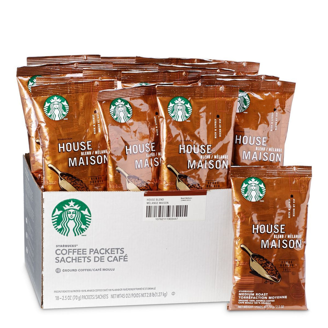 Starbucks Coffee House Blend Ground Coffee 18 2.5oz Bags