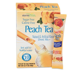Sturm Foods Peach Tea Sugar Free Stick Packs 10ct Box