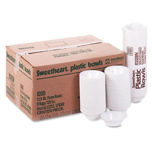 Sweetheart White Medium Weight Styrofoam 12oz Bowls 1000ct