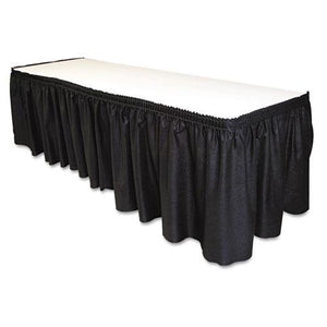 "Tablemate 29"" x 14' Black Table Set Linen-Like Table Skirting"