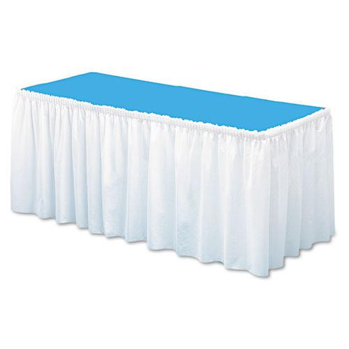 "Tablemate 29"" x 14' White Table Set Linen-Like Table Skirting"