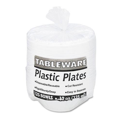 Tablemate White 12oz Plastic Bowls 125ct