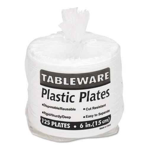 Tablemate White 6 Inch Plastic Plates 125ct