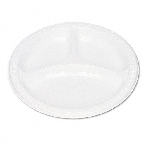 Tablemate White 9 Inch Plastic Compartment Plates 125ct