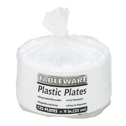 Tablemate White 9 Inch Plastic Plates 125ct