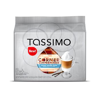 Tassimo Corner Coffee House Sweet Vanilla Latte Coffee Pods 16ct (8 Coffee, 8 Syrup)