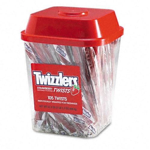 Twizzlers Individually Wrapped Strawberry Licorice 2lb Tub