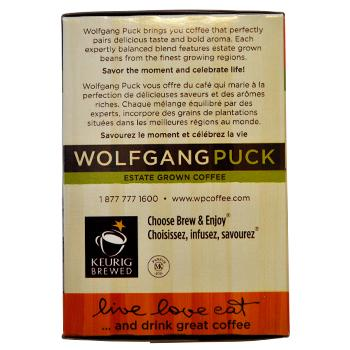 Wolfgang Puck Rodeo Drive Blend Coffee K-Cups 24ct Box Back